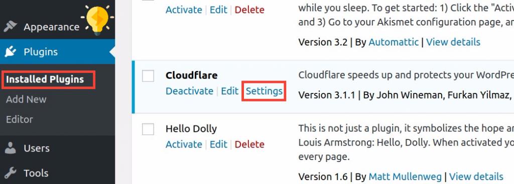 تهيئة المكون الإضافي CloudFlare