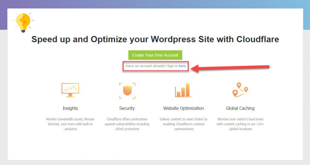 صفحة تسجيل الدخول إلى CloudFlare